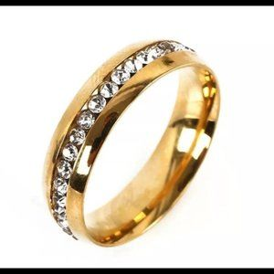 Stainless Steel Gold-Tone • Band Ring • Size: 9